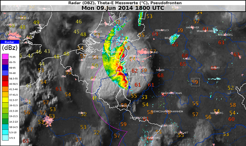 radaranalyse und Theta-e-Messwerte 18 UTC, Quelle: NinJo, DWD